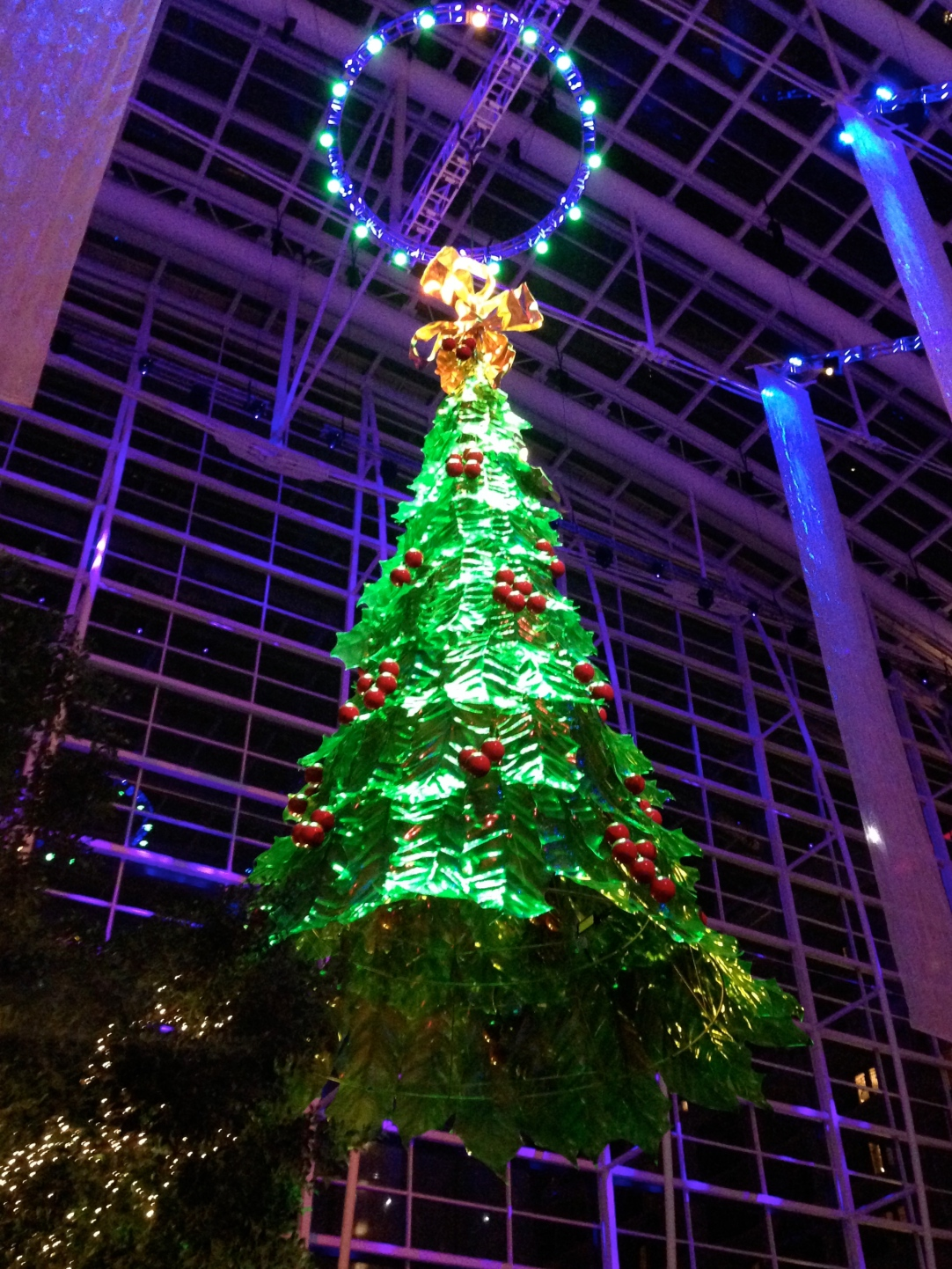 The 60ft glass tree, suspended in the atrium.