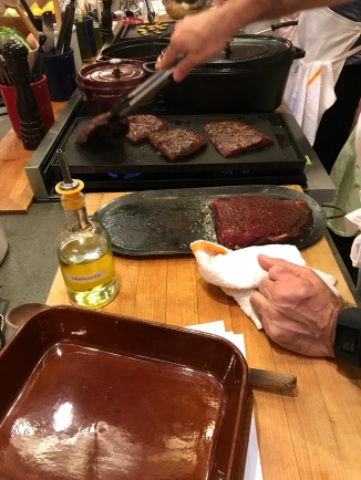 Searing the steaks!