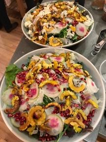 Fresh squash and radish salad with pomegranate